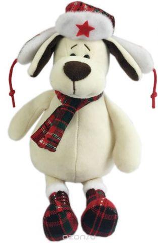 Teddy Мягкая игрушка Собака в ушанке с шарфом 18 см