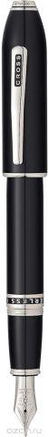Cross Ручка перьевая Peerless 125 цвет корпуса черный платина перо золото 18К родий