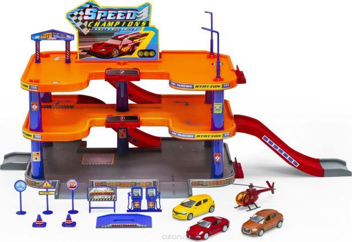 Welly Игровой набор Гараж с 3 машинами и вертолетом 96050