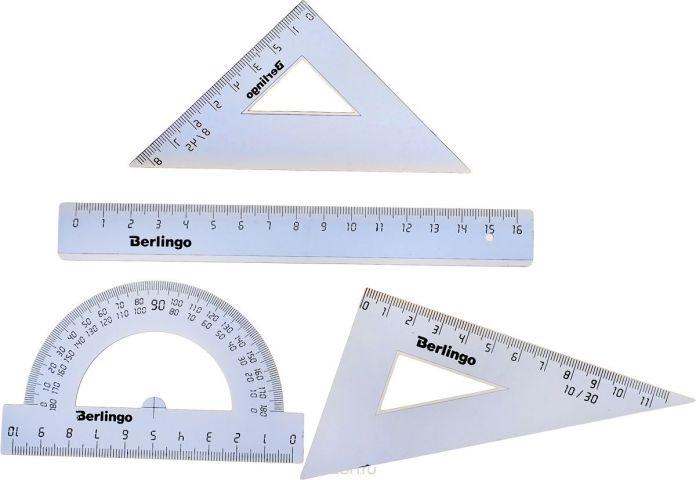 Berlingo Геометрический набор малый цвет прозрачный 4 предмета