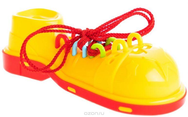 Пластмастер Игра-шнуровка для малышей Клоунский ботинок цвет красно-желтый
