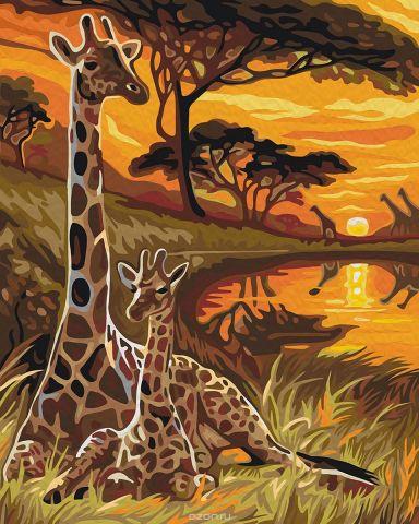 """Набор для рисования по номерам Мосфа """"Жирафы"""", 40 х 50 см"""