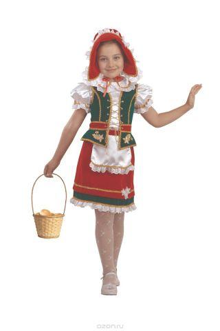 Батик Костюм карнавальный для девочки Красная Шапочка цвет красный зеленый белый размер 26