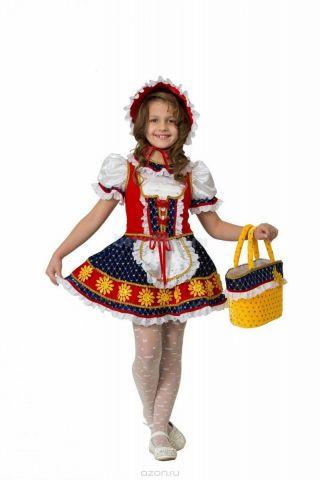 Батик Костюм карнавальный для девочки Красная Шапочка цвет красный синий белый размер 30