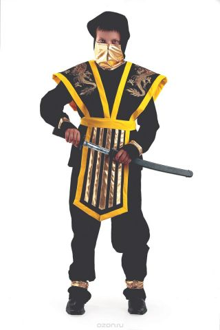 Батик Костюм карнавальный для мальчика Мастер Ниндзя цвет желтый размер 38
