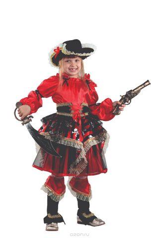 Батик Костюм карнавальный для девочки Пиратка цвет красный размер 34