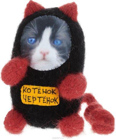 """Мягкая игрушка Бюро находок """"Котенок. Чертенок"""", цвет: черный, красный"""