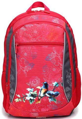 4ALL Рюкзак School цвет красный серый