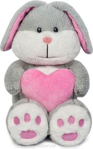 Maxitoys Мягкая игрушка Зайка Серый с сердцем 30 см