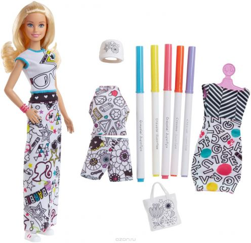 Barbie Игровой набор с куклой Crayola Одежда-раскраска
