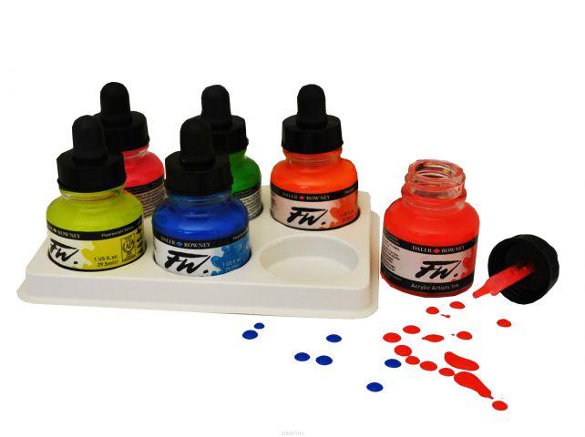 Daler Rowney Набор неоновых чернил FW Artists 6 цветов 29,5 мл