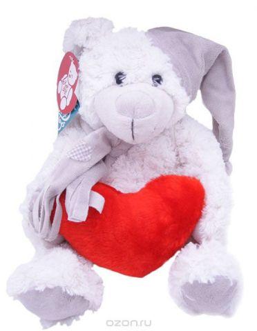 Magic Bear Toys Мягкая игрушка Мишка Смит в шапке и шарфе с сердцем 28 см