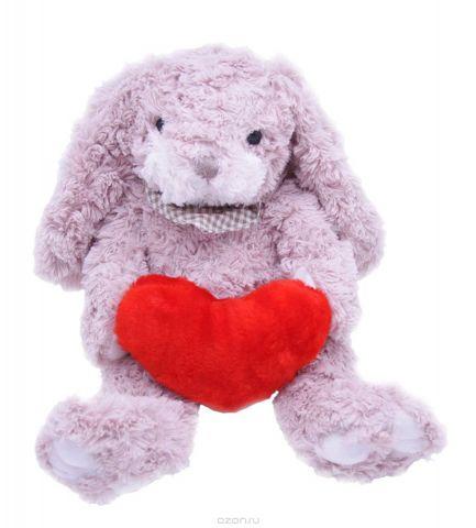 Magic Bear Toys Мягкая игрушка Заяц Барни c сердцем 26 см