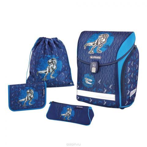 Herlitz Ранец школьный Midi Plus Blue Dino с наполнением 4 предмета