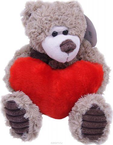 Magic Bear Toys Мягкая игрушка Мишка Норман в шарфе с сердцем 18 см