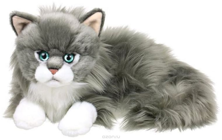 Anna Club Plush Кот сибирский серый, лежит 25 см