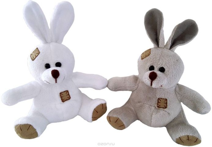 ABtoys Мягкая игрушка Зайчик с заплатками цвет коричневый 12 см