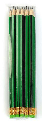 Calligrata Карандаш чернографитный Полоски с ластиком твердость HB цвет корпуса зеленый черный