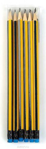 Calligrata Карандаш чернографитный Полоски с ластиком твердость HB цвет корпуса желтый синий 2864372