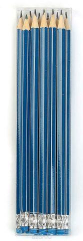 Calligrata Карандаш чернографитный Полоски с ластиком твердость HB цвет корпуса синий белый