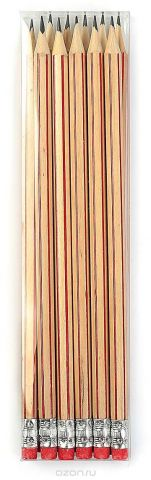 Calligrata Карандаш чернографитный Полоски с ластиком твердость HB цвет корпуса бежевый красный