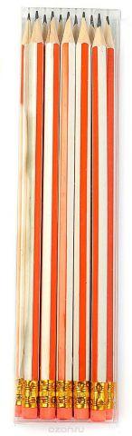 Calligrata Карандаш чернографитный Полоски с ластиком твердость HB цвет корпуса белый оранжевый