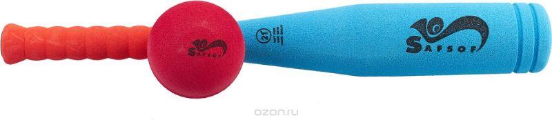 Safsof Игровой набор Бейсбольная бита и мяч цвет голубой коралловый малиновый