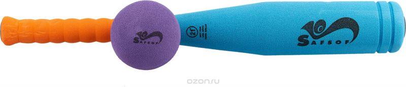 Safsof Игровой набор Бейсбольная бита и мяч цвет голубой оранжевый фиолетовый