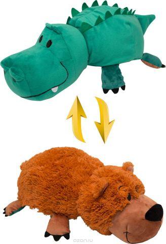 1TOYМягкая игрушкаВывернушка 2в1 Аллигатор-Медвежонок 20 см