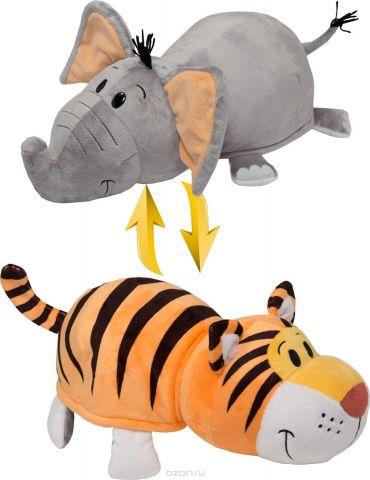 1TOYМягкая игрушкаВывернушка 2в1 Тигр-Слон 40 см