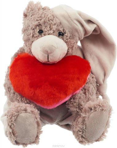 Magic Bear Toys Мягкая игрушка Мишка Патрик в шапке с сердцем 25 см цвет серый