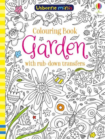 Colouring book garden with rub-down transfers