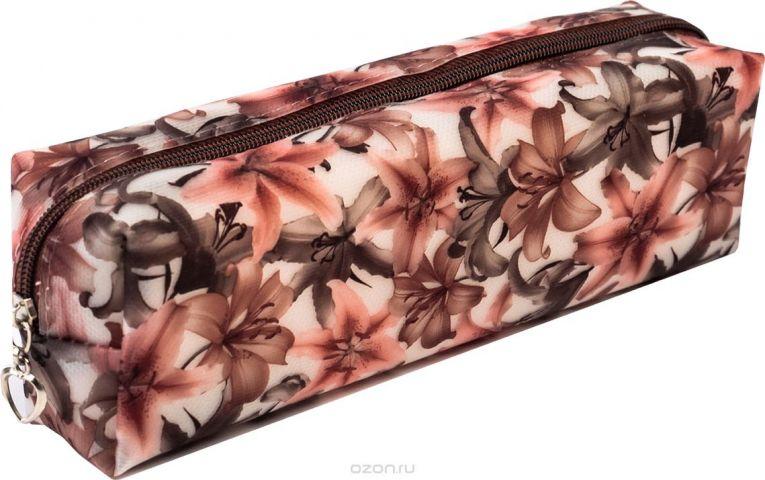 Calligrata Пенал школьный Цветы цвет коричневый