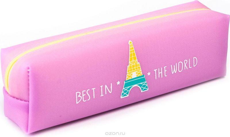 Calligrata Пенал школьный Эйфелева башня цвет розовый