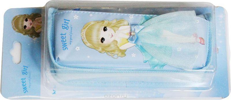 Calligrata Пенал школьный Модная принцесса цвет голубой 2923588