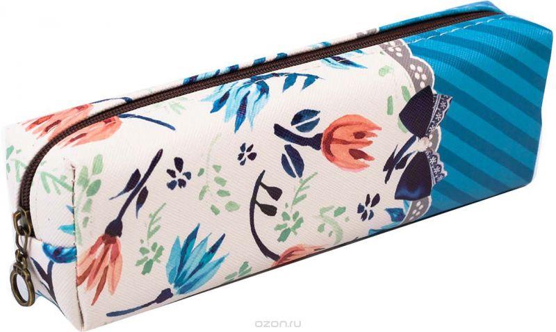 Calligrata Пенал школьный Цветы цвет синий 2873666