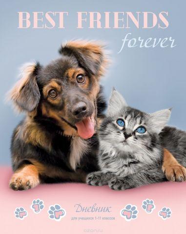 BG Дневник школьный Лучшие друзья навсегда цвет светло-розовый, серый