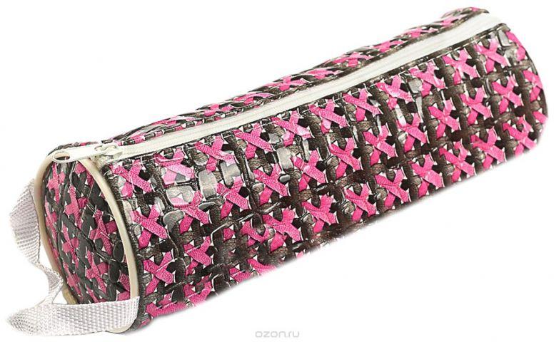 Calligrata Пенал школьный Плетенка цвет розовый 2879263