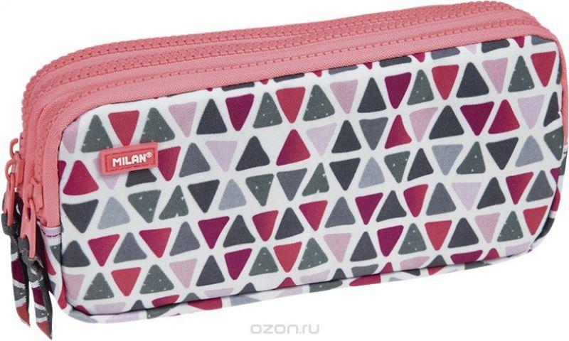 Milan Пенал-косметичка Geo Girl цвет розовый зеленый бордовый 3 отделения