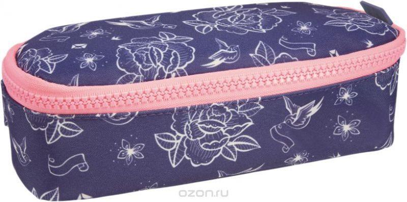 Milan Пенал-косметичка Flowers Blue цвет темно-синий коралловый