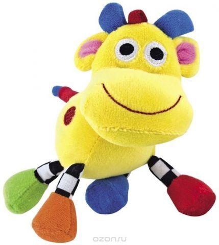 Canpol Babies Игрушка подвесная мягкая с погремушкой Сумасшедшие животные Корова цвет желтый