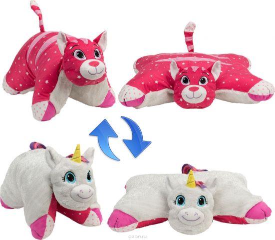 1TOY Мягкая игрушка Вывернушка 2в1 Белый Единорог-Розовая Кошечка 16 см