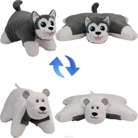 1TOY Мягкая игрушка Вывернушка 2в1 Хаски-Полярный Медведь 18 см