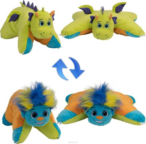 1TOY Мягкая игрушка Вывернушка 2в1 Разноцветный Тролль-Салатовый Дракон 11 см