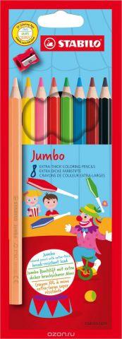 STABILO Набор цветных карандашей Jumbo утолщенные с точилкой 8 цветов
