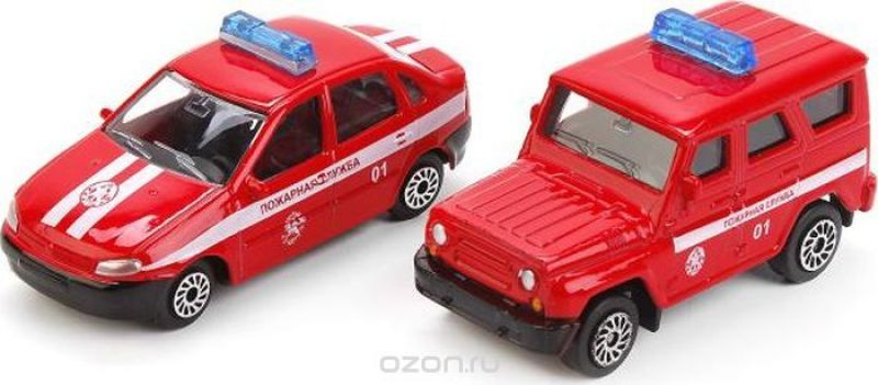 ТехноПарк Пожарная часть с 2 машинками УАЗ Лада