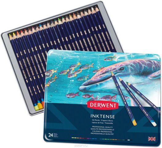 Derwent Набор акварельных карандашей Inktense 24 цвета