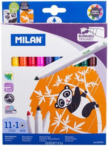 Milan Фломастеры стираемые 632 11 цветов + 1 стиратель