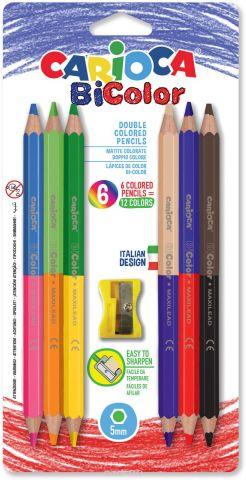 Carioca Набор цветных двусторонних карандашей + точилка Bicolor 12 цветов 6 шт