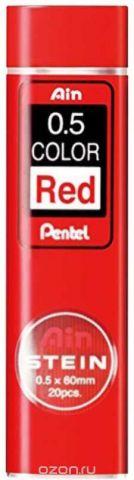 Грифели для автоматических карандашей Pentel Ain Stein, толщина 0.5 мм, цвет: красный, 20 шт